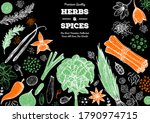herbs and spices hand drawn... | Shutterstock .eps vector #1790974715