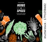 herbs and spices hand drawn... | Shutterstock .eps vector #1791058682