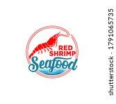 seafood restaurant shrimp logo... | Shutterstock .eps vector #1791065735