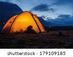 illuminated tent in lapland | Shutterstock . vector #179109185