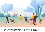 big happy family in the park ... | Shutterstock .eps vector #1791110342