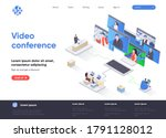 video conference isometric...