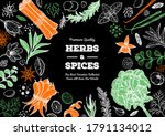 herbs and spices hand drawn... | Shutterstock .eps vector #1791134012