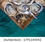 Fresh Oysters And Sea Clams Of...