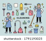 cleaning character and various... | Shutterstock .eps vector #1791193025