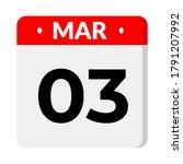 03 march calendar icon  vector... | Shutterstock .eps vector #1791207992