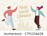 cute characters greeting each... | Shutterstock . vector #1791226628
