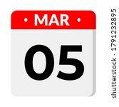 05 march calendar icon  vector... | Shutterstock .eps vector #1791232895