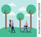woman and man cartoon walking... | Shutterstock .eps vector #1791256058