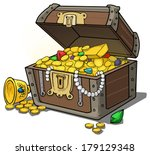 treasure chest full of gold and ... | Shutterstock .eps vector #179129348