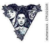 chicano tattoo in triangle... | Shutterstock .eps vector #1791321635