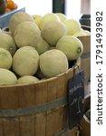 Close Up Of Cantaloupe Melons...