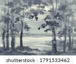 Summer Landscape In Grey With A ...