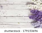 wood background with lilac... | Shutterstock . vector #179153696