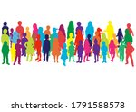 silhouette of children on white ... | Shutterstock . vector #1791588578
