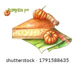 A Slice Of Pumpkin Pie With Two ...