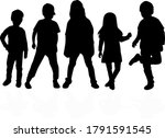silhouette of children on white ... | Shutterstock . vector #1791591545