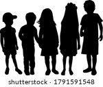 vector silhouette of children... | Shutterstock . vector #1791591548