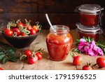 A Jar Of Rose Hip Jelly And...