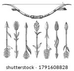 indian arrow tattoo set. ethnic ... | Shutterstock .eps vector #1791608828
