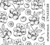 seamless pattern with blueberry.... | Shutterstock .eps vector #1791633188