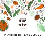 herbs and spices hand drawn... | Shutterstock .eps vector #1791665738