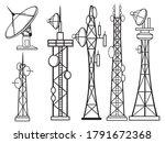 set of wireless towers.... | Shutterstock .eps vector #1791672368