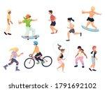 set of people doing outdoor... | Shutterstock .eps vector #1791692102
