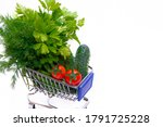 Cart With Vegetables And Herbs...