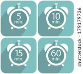 alarm clocks timers on a blue... | Shutterstock .eps vector #179179736