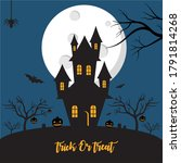 halloween poster with spooky...   Shutterstock .eps vector #1791814268