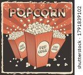 popcorn signage poster retro... | Shutterstock .eps vector #1791839102
