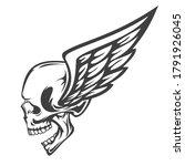 vintage monochrome human skull... | Shutterstock .eps vector #1791926045