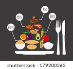 healthy food over gray... | Shutterstock .eps vector #179200262