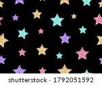 colorful glitter stars on black ... | Shutterstock .eps vector #1792051592