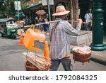 Street Food Seller In Asia. Ma...