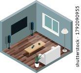living room isometry. flat...   Shutterstock .eps vector #1792090955