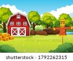 farm scene in nature with barn...   Shutterstock .eps vector #1792262315