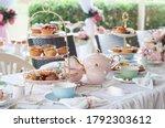 Pastel high tea set up...