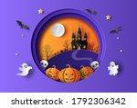paper art style of pumpkins... | Shutterstock .eps vector #1792306342