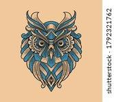Vintage Illustration Owl Head...