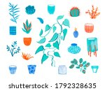 large set with watercolor... | Shutterstock . vector #1792328635