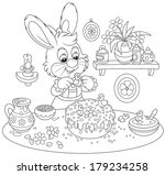 easter bunny cooks a holiday... | Shutterstock .eps vector #179234258