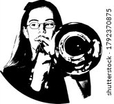 Female Trombone Player With...