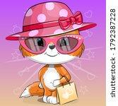 Cute Cartoon Baby Fox In The...