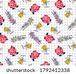roses pattern with leaves on... | Shutterstock .eps vector #1792412338