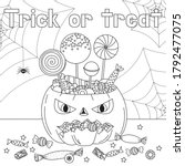 trick or treat coloring page.... | Shutterstock .eps vector #1792477075