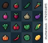 vegetables pixel art icons set. ...