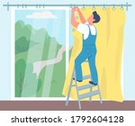 man hanging curtains flat color ... | Shutterstock .eps vector #1792604128
