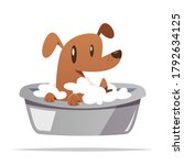 cartoon dog taking a bath... | Shutterstock .eps vector #1792634125